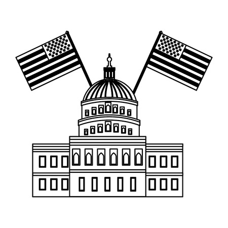 united states capitol building in washington with american flags vector illustration 向量圖像