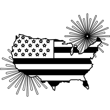 american flag on map with pyrotechnics vector illustration  イラスト・ベクター素材