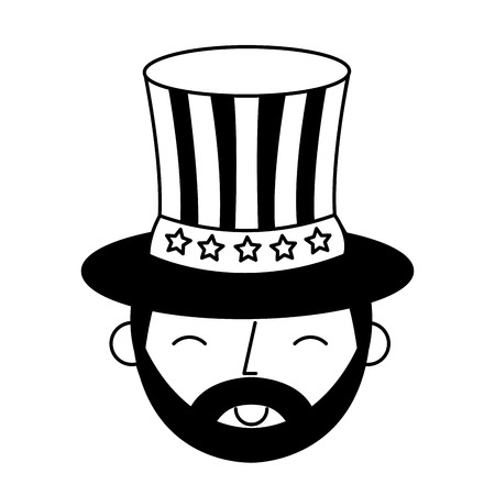 man character face with american flag on top hat vector illustration Illustration