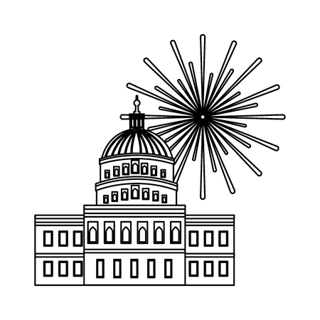 united states capitol building in washington fireworks vector illustration
