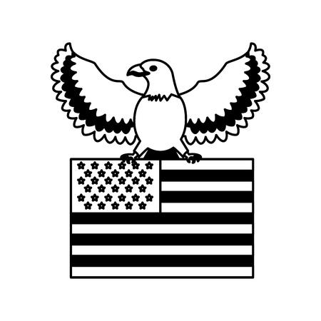 american eagle holding flag emblem national vector illustration