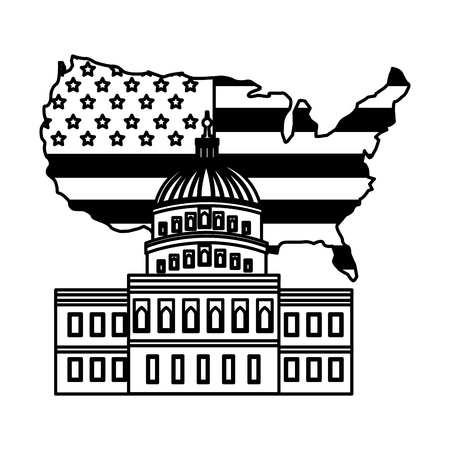 united states capitol building in washington flag on map vector illustration
