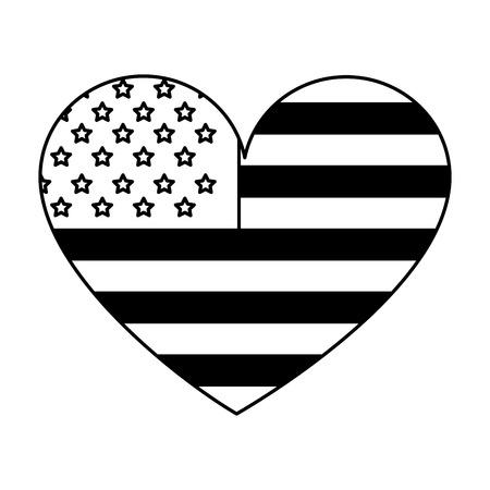 american flag shaped heart patriotic vector illustration