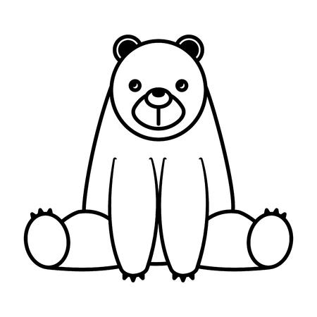 cute bear sit in the floor cartoon vector illustration