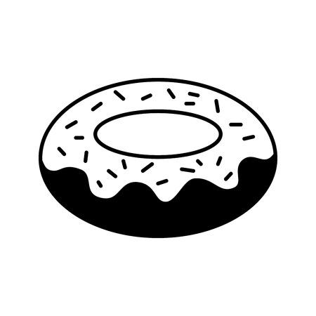 sweet dessert donut cream chips vector illustration