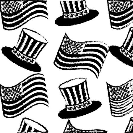 pattern american flag in top hat memorial symbol vector illustration