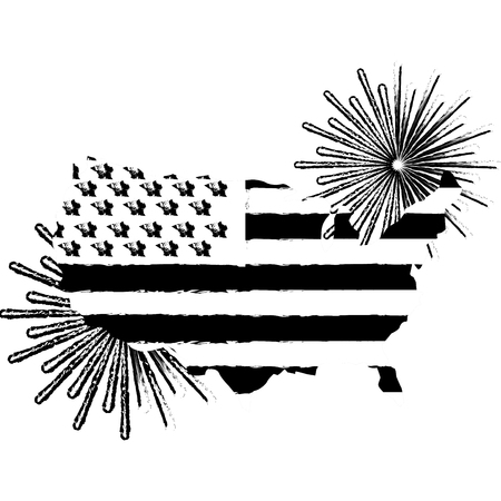american flag on map with pyrotechnics vector illustration Illustration