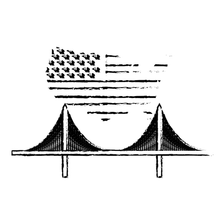 american flag on map and bridge landmark vector illustration