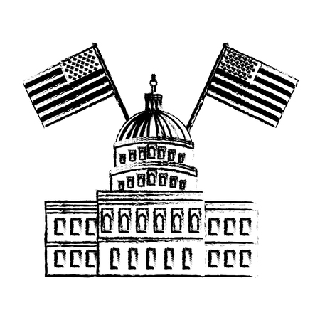 united states capitol building in washington with american flags vector illustration Illustration