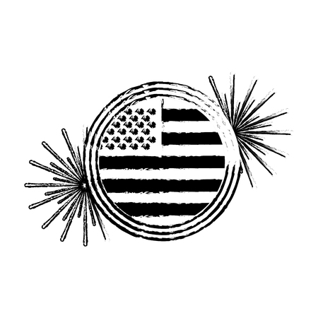 american flag on button with fireworks vector illustration Illustration