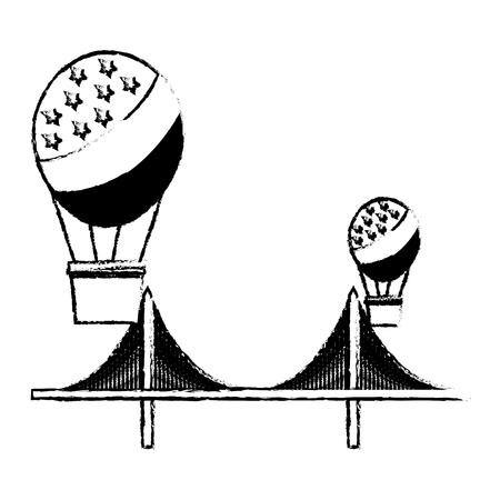 flag american in hot air balloon and bridge landmark vector illustration