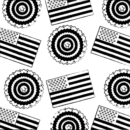 american flag and rosette ornament background vector illustration Illusztráció