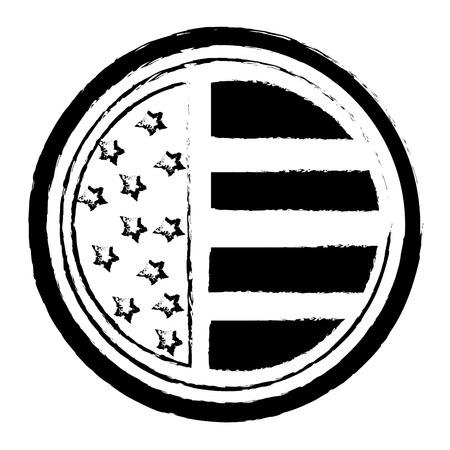 ヴィンテージラベルアメリカンフラッグ装飾ベクトルイラスト  イラスト・ベクター素材
