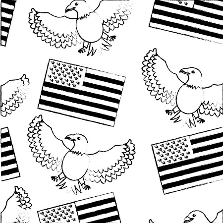 american flag and eagle bird background vector illustration