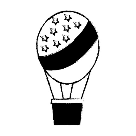 american flag on hot air balloon basket vector illustration sketch