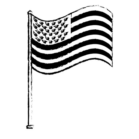 unites state of america waving on flagpole vector illustration sketch