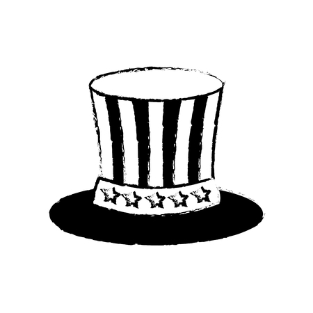 uncle sam top hat with flag united states usa vector illustration sketch