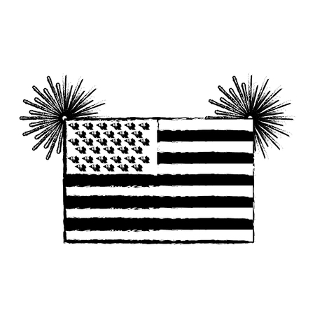 united state of america flag with fireworks vector illustration sketch