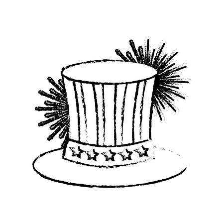 uncle sam top hat with flag united states usa fireworks vector illustration sketch Çizim