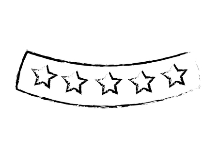 ribbon with stars decoration image vector illustration sketch