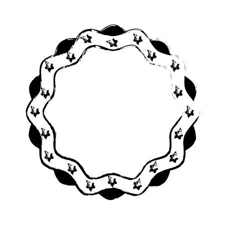 vintage label stars border decoration vector illustration sketch Illustration