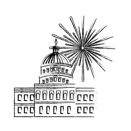 united states capitol building in washington fireworks vector illustration sketch Illustration