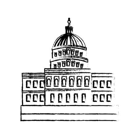 ワシントンDCベクトルイラストスケッチの米国議会議事堂