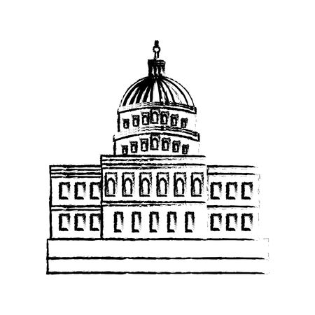 united states capitol building in washington dc vector illustration sketch