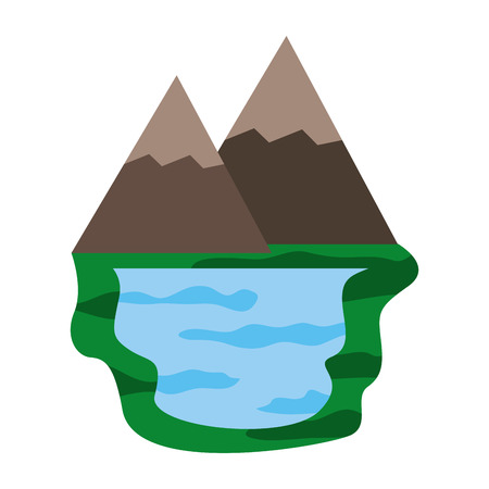 mountains and lake nature scene vector illustration design