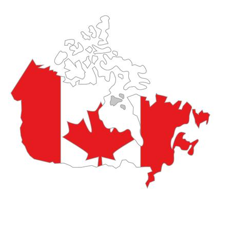 フラグベクトルイラストデザインを持つカナダのマップ
