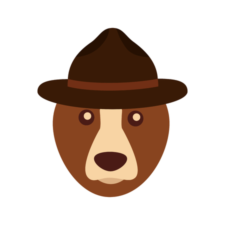 grizzly bear with hat vector illustration design Banque d'images - 98744024