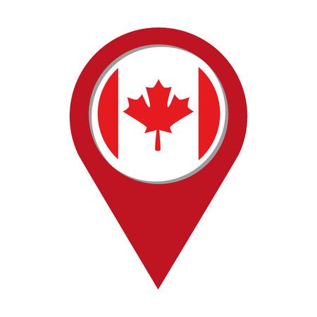 canadian flag in pointer location vector illustration design