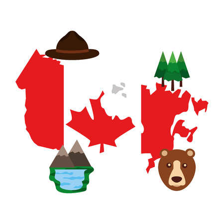canadian map with flag and set icons vector illustration design