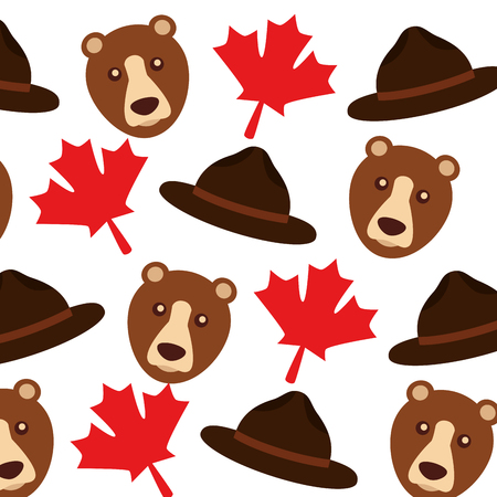 grizzly bear and maple leafs pattern background vector illustration design