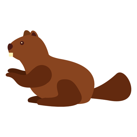 cute beaver animal character vector illustration outline Illustration