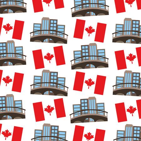 カナダの旗と都市景観パターンベクトルイラストデザイン