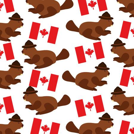 beaver with hat and canadian flag pattern vector illustration design Illustration