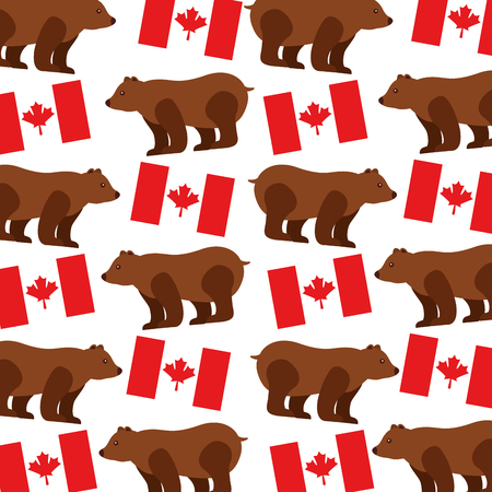 grizzly bear with canadian flag pattern vector illustration design Illustration