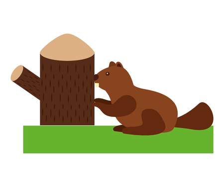 beaver rodent with trunk tree vector illustration design Çizim