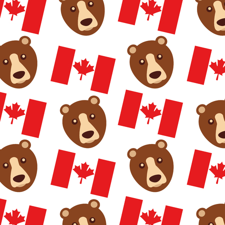 canada flag and grizzly bear pattern background vector illustration design Ilustração