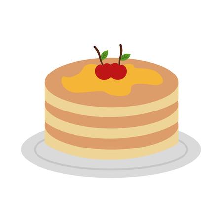 Pfannkuchen mit Sirup Ahornsirup auf Teller Vektor-Illustration Design Standard-Bild - 98746502