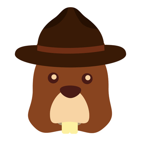 Beaver with hat character vector illustration design.
