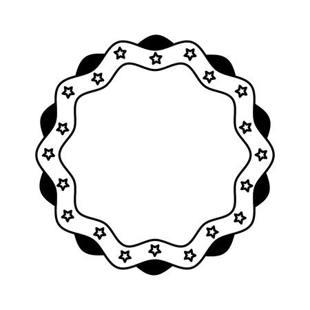 Vintage label stars border decoration vector illustration black and white. Illustration