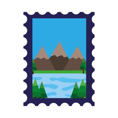 Las montañas y el lago en diseño del ejemplo del vector del sello. Foto de archivo - 98777064