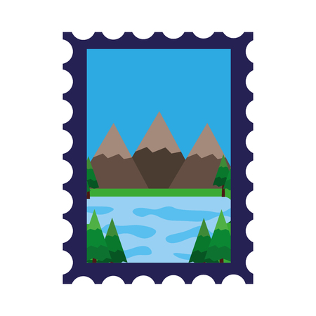 Mountains and lake in postage stamp vector illustration design.