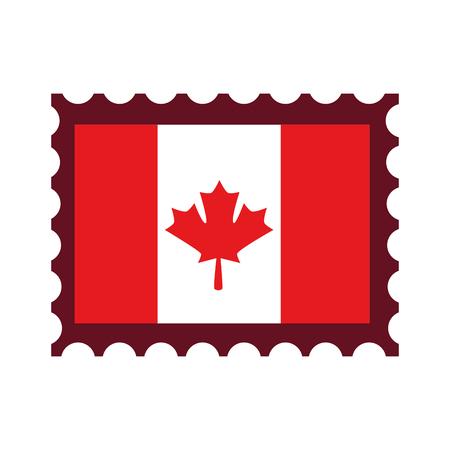 Canadian flag with postage stamp vector illustration design. Çizim