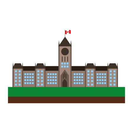 オタワカナダ議会建物ファサードベクトルイラストデザイン