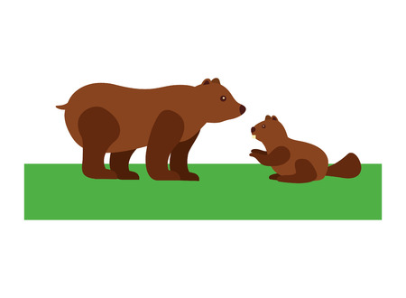 Grizzly bear and beaver vector illustration design. Illustration