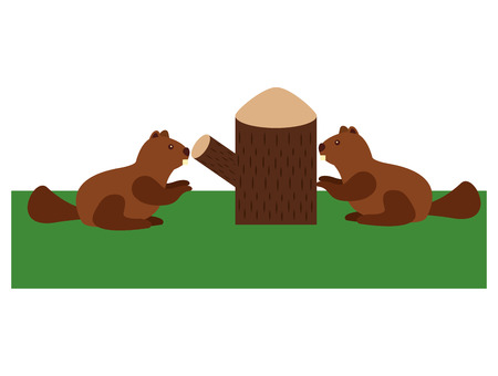 Beavers with trunk tree scene vector illustration design. Illustration