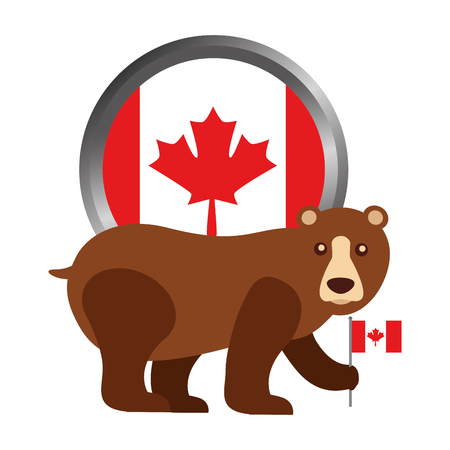 Grizzly bear with Canadian flag button vector illustration design.
